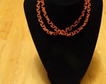 Black and orange beaded necklace