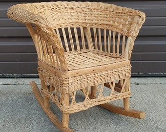 Vintage Child's Natural Wicker Rocking Chair ~ Woven Reed and Rattan Rocker ~ Country Cottage ~ Front Porch Chair