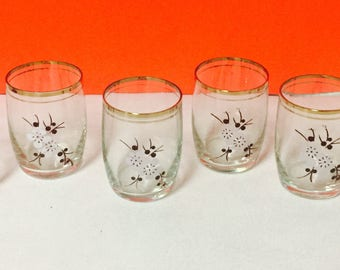 Set of Six Floral Crystal Juice Glasses Cherry Blossoms Vintage
