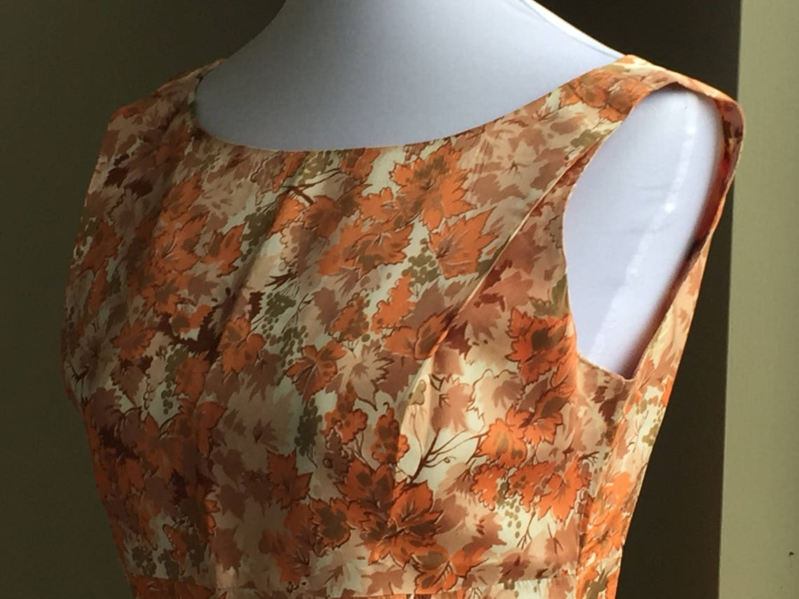 Brown and Orange Taffeta Women's Dress Party Vintage 1960s