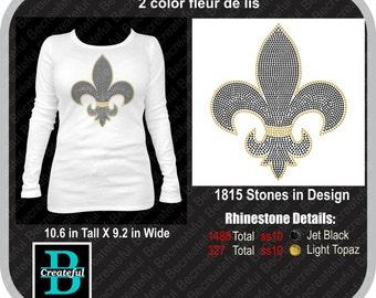 2 color fleur de lis rhinestone Digital Download, marti gras, Saints, New Orleans