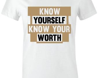 cdd2e1286cc6b9 Know Yourself - Juniors Women T-Shirt to Match Jordan 1 High OG