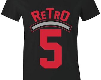 863b66375e10f0 Retro 5 - Juniors Women T-Shirt to Match Jordan 5 Red Suede