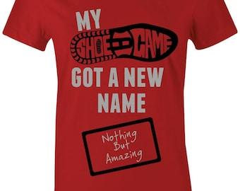 db160188914319 My Shoe Game - Juniors Women T-Shirt to Match Jordan 5 Red Suede