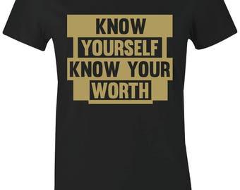 7169fcfab0d Know Yourself - Juniors Women T-Shirt to Match Foamposite Pro