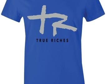 9e3d6ea0659ae3 True Riches - Juniors Women T-Shirt to Match Jordan 5 Blue Suede