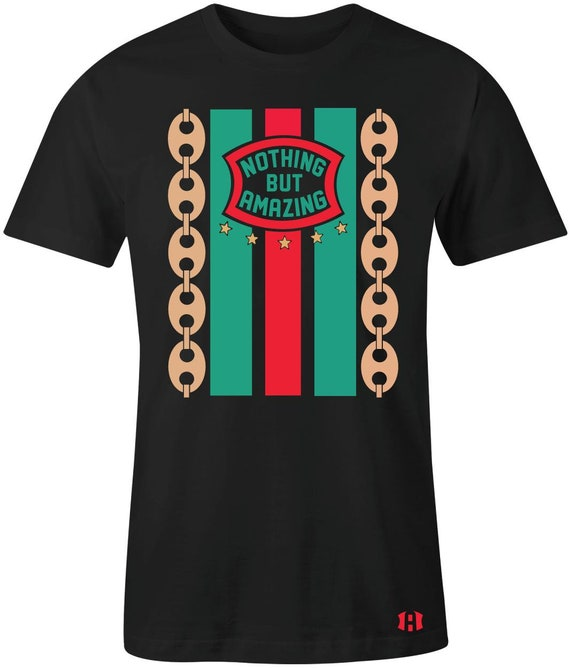 e2b49b85 Gucci Link Mens T-Shirt to Match Foamposite PRO Black | Etsy