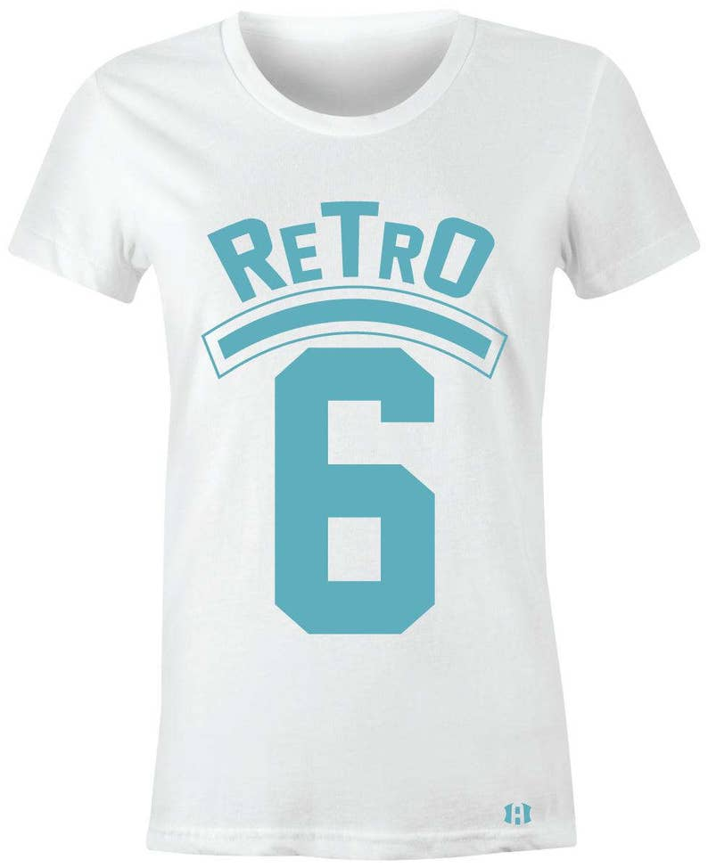 "/""CROWN BULL/"" Women//Juniors T-Shirt to Match Air Retro 6 /""Still Blue/"" GS"