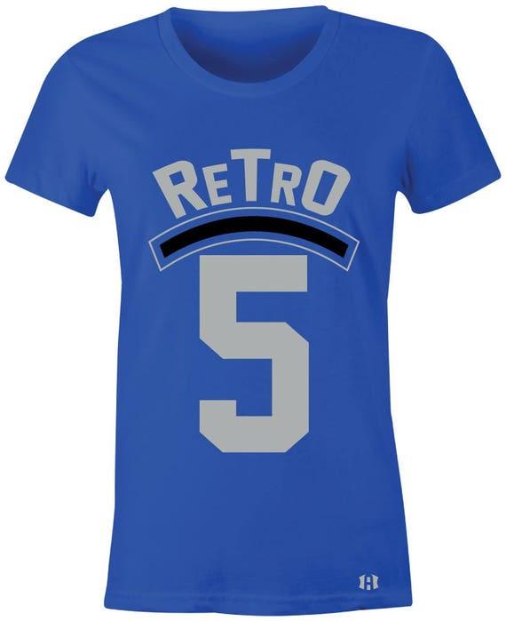 new arrivals 75223 e4ac0 Retro 5 Juniors Women T-Shirt to Match Jordan 5 Blue Suede   Etsy