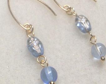 Heavenly blue crucifix earrings