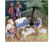 Fashion Doll Patio Furniture - Barbie Wicker-Look Furniture - Vintage 7ct Plastic Canvas Pattern PDF Plastic Canvas Pattern