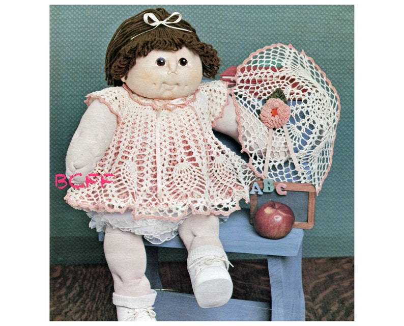 PDF Doll Clothes Crochet Pattern Cabbage Patch Dress Plus Hat Crochet Pattern Thread Crochet Printable Download