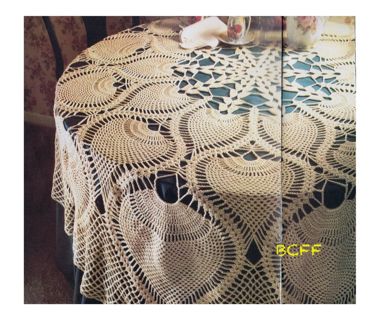 Pineapple Tablecloth Crochet Pattern 70 S Home Decor Etsy