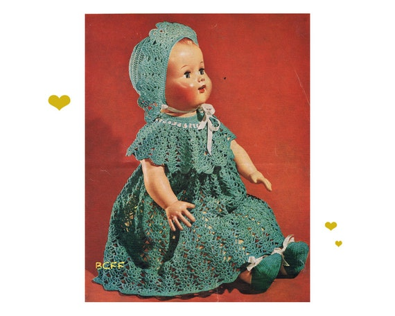 1950s Doll Clothes Crochet Pattern Dress Hat Shoes Etsy