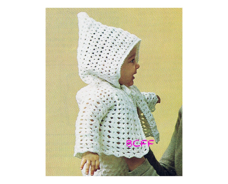 18618b78901 Hooded Baby Jacket Crochet Pattern Boy Girl Vintage