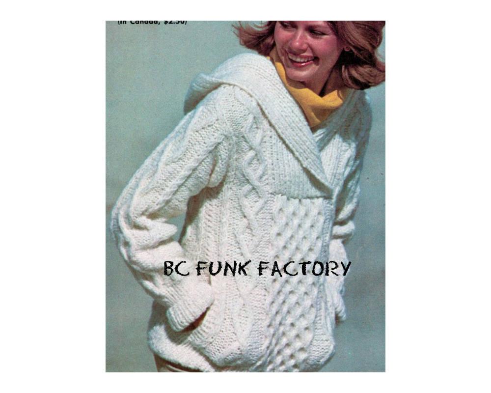 Aran Sweater Knitting Pattern Women\'s Hooded Cable Knit | Etsy