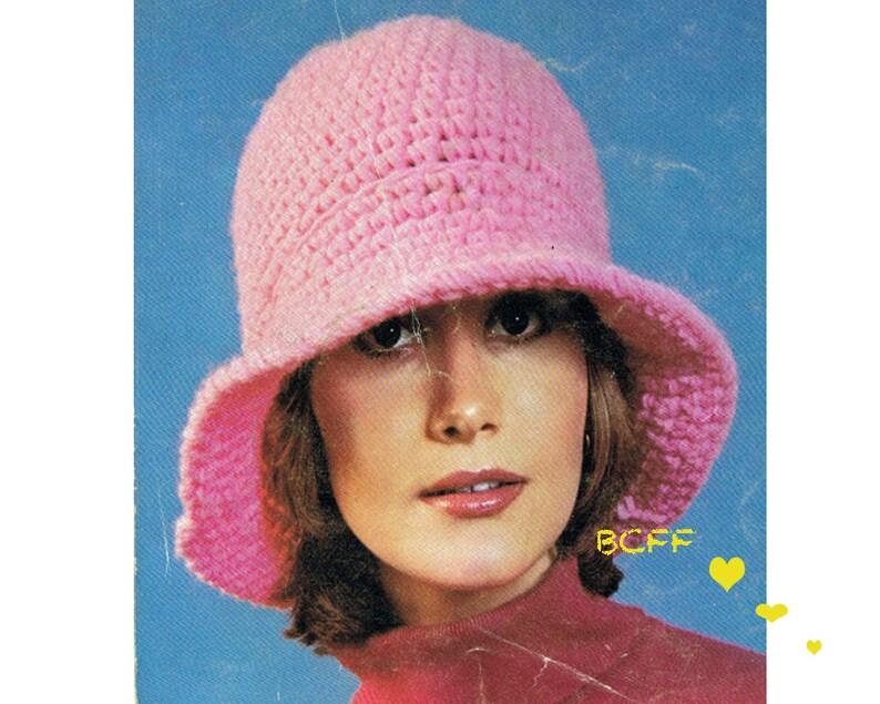 de3b289346f Crochet Hat Pattern Floppy Brim hat 70s Hat Women s