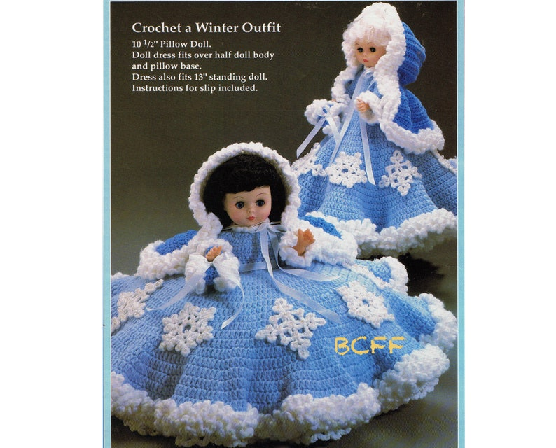 Vintage Crochet Pattern Pillow Doll Bed Doll Winter Dress image 0