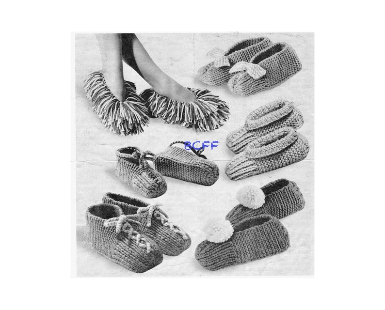 047f31d6ee9 Slipper Knitting Pattern Vintage 1970 s Speedy Slippers