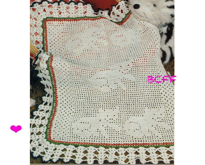 Child Afghan Blanket Throw Kitty Cat Blanket Crochet Pattern Vintage Home Crochet PDF Crochet Pattern Filet Crochet