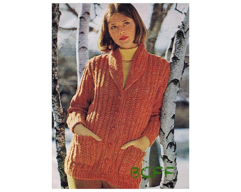 Crochet Sweater Pattern Vintage 70s Shawl Collared Jacket Etsy