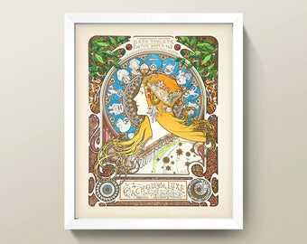 Art Nouveau Bath Salts Print O 8x10 Bathroom Wall High Quality Giclee Mucha Poster