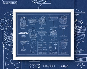Cocktail blueprint etsy cocktail blueprint 8x10 wall art print high quality gicle print malvernweather Gallery