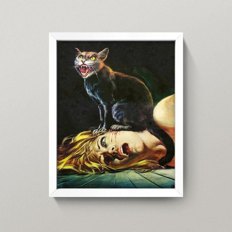 \u2022 Cat Lady \u2022 Vintage Cat Horror Movie Poster \u2022 Goth Dead Macabre Evil Dead Blood \u2022 Black Cat Horror Print \u2022 3 Sizes Cat Scratch Fever