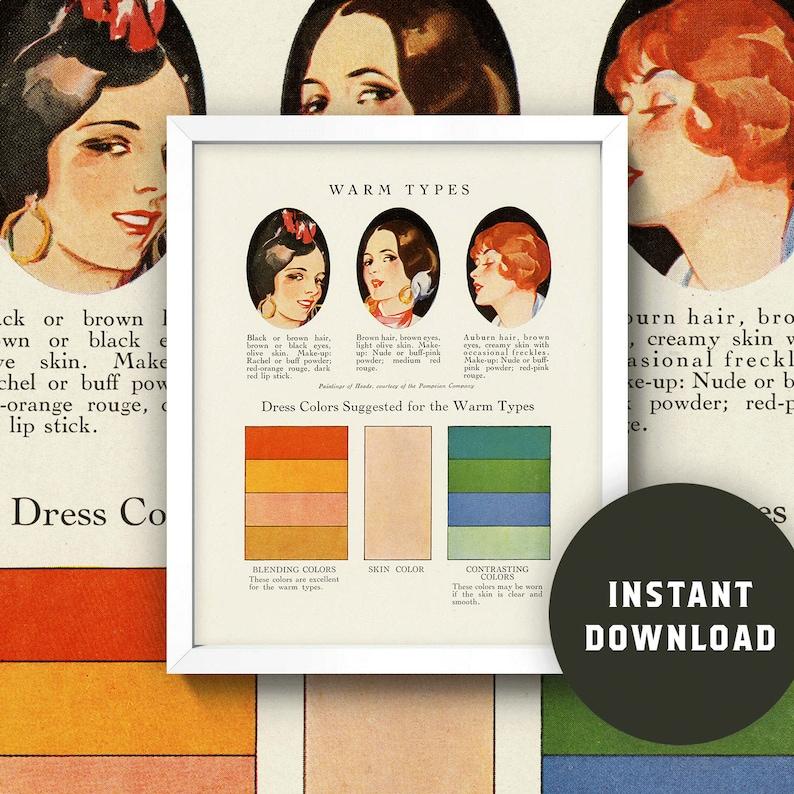 2476654fc7 Fashion Color Chart Print Warm Skin Tones 8x10