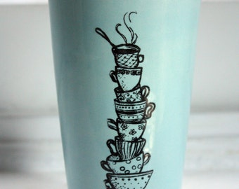 16oz Hand Painted Travel Mug with Teacup Stack