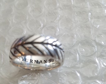 Vintage David Yurman Sterling Silver 10mm Wide Chevron Band Ring Sz 10