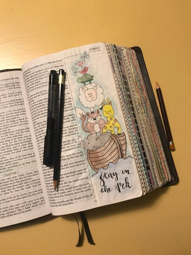 Genesis 7 | Bible Journaling | Stay in the Ark | Side bar coloring page