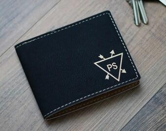 Personalized Leatherette Wallet, Personalized Wallet, Custom Leather Wallet, Engraved Leather Wallet, Groomsmen Gifts, Bi Fold Wallet