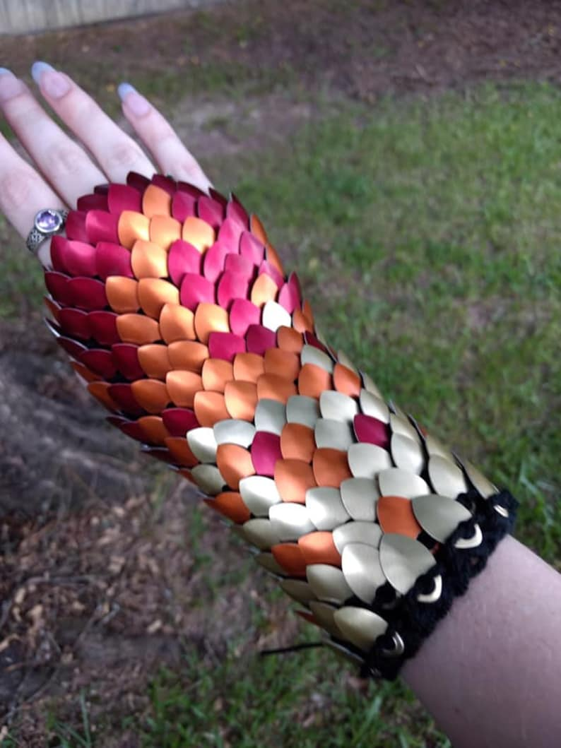 Fire Tones Elven Mage Dragon Scale Gloves Mid Length/ Knitted Scalemaille   Dragon Scale Armor