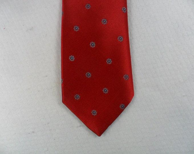 Vintage Surrey Tie USA Red Gray and Blue Geometric Mini Circles with Petals  Necktie 56 x 3 Vintage Tie Shop T1288