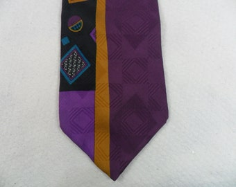 e90d76404d66 Vintage Bugatti Tie Pure Silk Purple and Turquoise Abstract Men's Neck wear  56 x 3.75 The Crazy Tie Guy T555