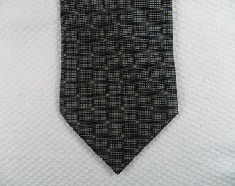 dac613a952a0 Vintage Bruno Piattelli Tie USA Pure Silk Black and Silver Square pattern  Men's Neck wear 56 x 3.75 The Crazy Tie Guy T254