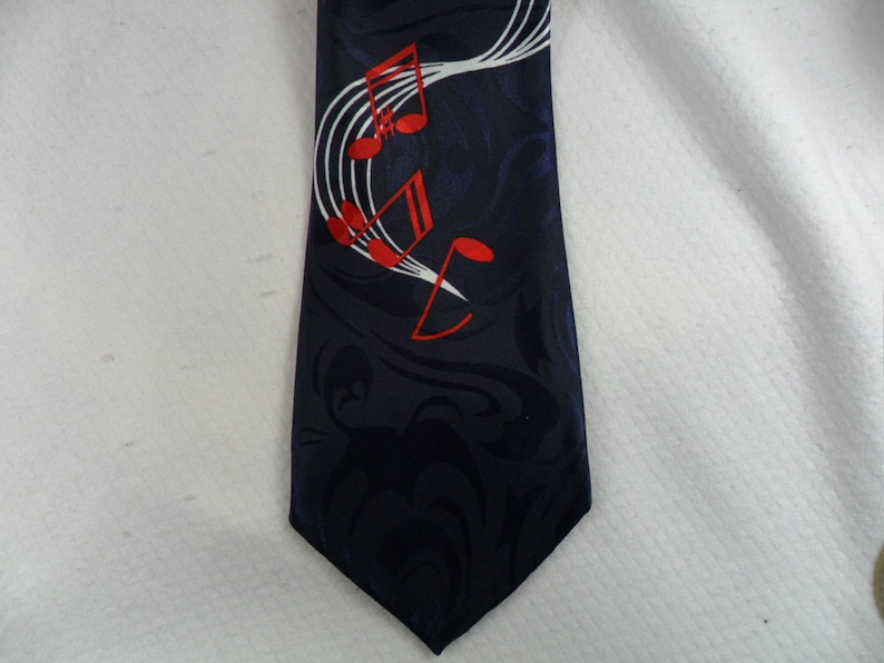ffee3fb7d2b4 Vintage Music Tie Steven Harris Music Note Navy and Red | Etsy