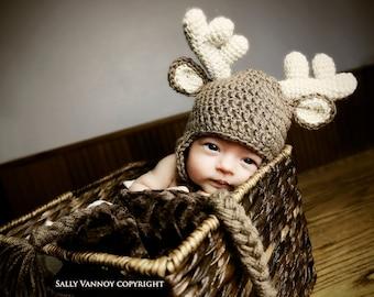 Newborn Deer Hat,  Crochet Baby Animal Hat, Photo Prop