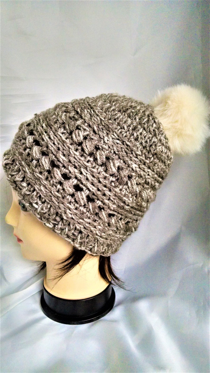 crochet winter hats for girls textured neutral color beanie image 0