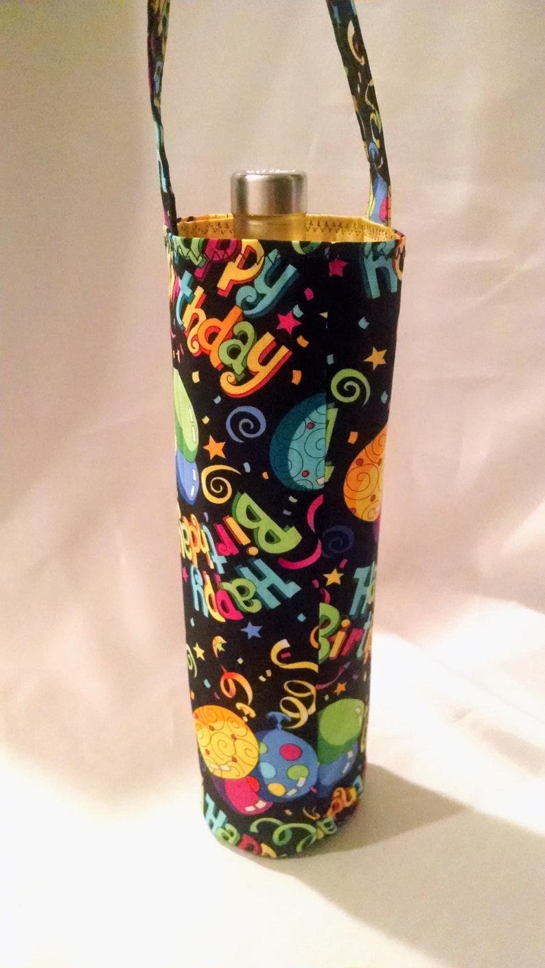 Happy Birthday wine tote celebration gift bag beverage image 0