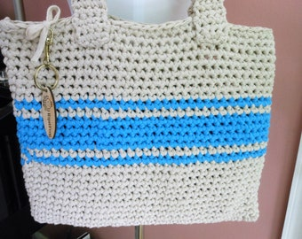 crochet computer sleeve, blue and beige shoulder purse, laptop or ipad carry bag, ladies summer handbag, messenger bag, tablet computer cozy