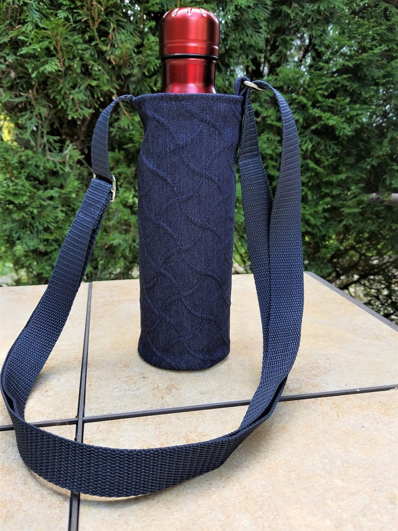 water bottle carrier with adjustable strap blue jean textured image 0