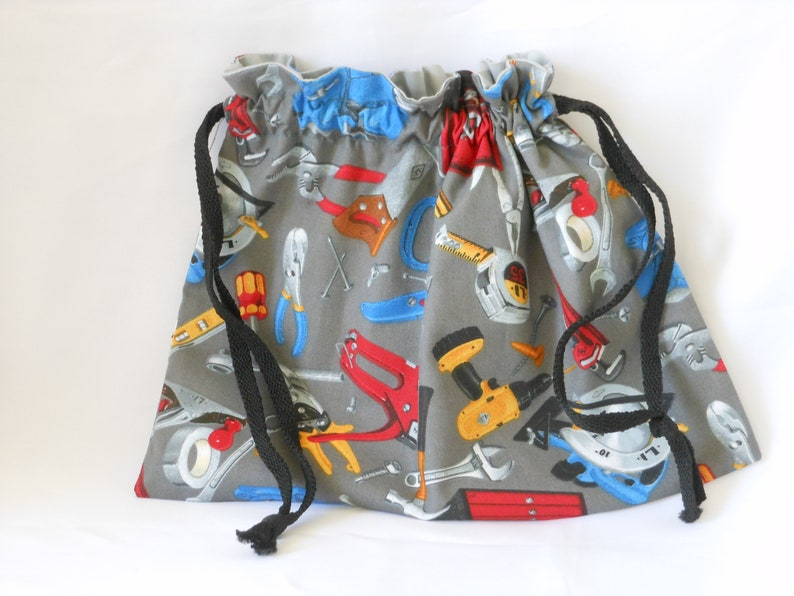 Construction drawstring gift bag birthday tote with work tool image 0