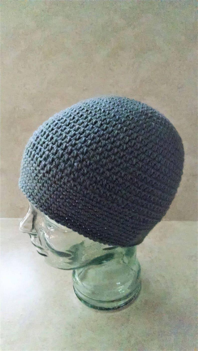 crochet grey beanie large mens skull cap gender neutral hat image 0
