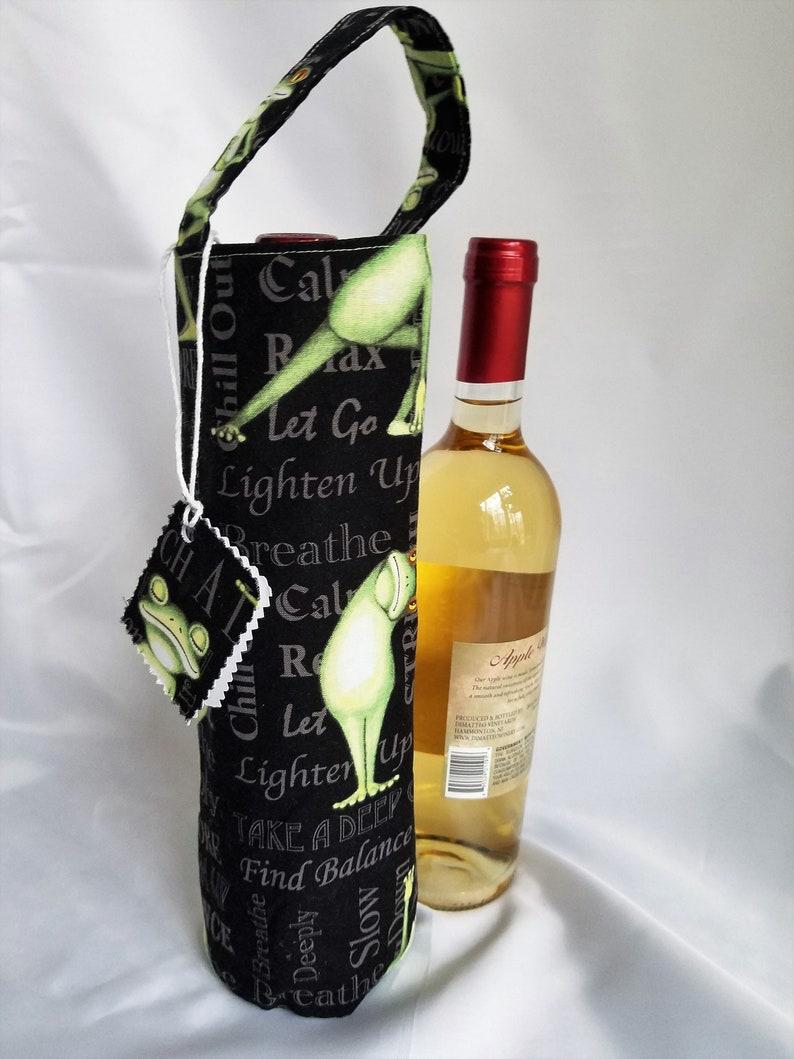 Yoga frog wine tote gift bag for yoga enthusiast birthday image 0