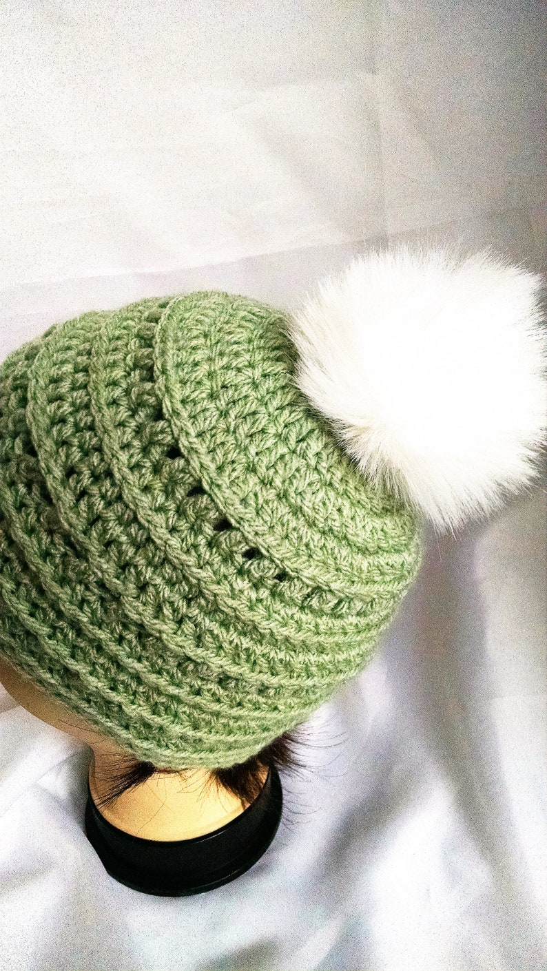 crochet winter hats for girls textured soft green color image 0