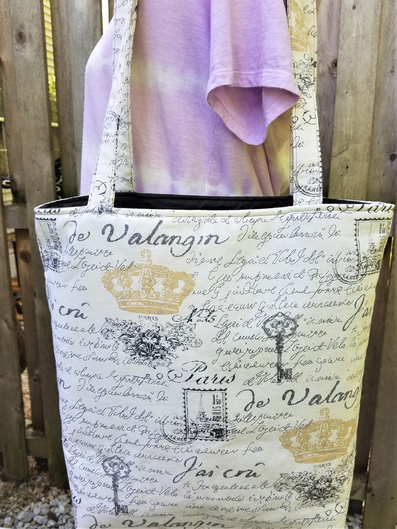 large over the shoulder tote with Paris theme extra large image 0