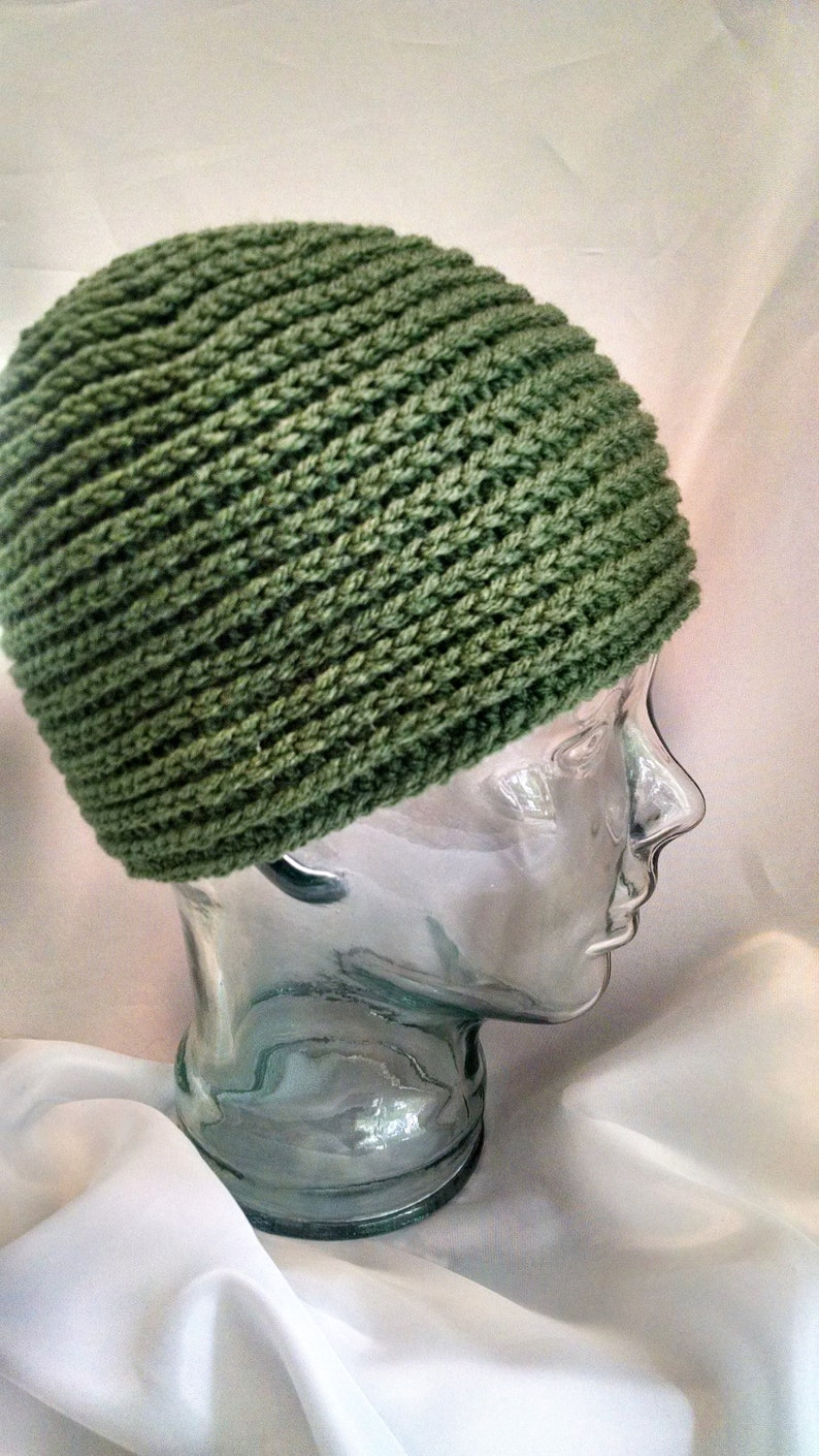 green crochet beanie spiral texture design gender neutral image 0