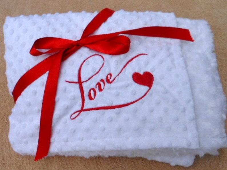 Minky dot cuddle Love Heart throw photo prop luxurious image 0